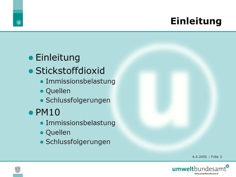 6.6.2005   Folie 3 Rechtliche Situation Österreich: Im Immissionsschutzgesetz-Luft sind Grenzwerte für NO 2 (HMW und JMW) und PM10 (TMW, JMW) festgelegt EU: EU-Grenzwert für PM10 einzuhalten ab 1.1.2005 EU-Grenzwert für NO 2 (40 µg/m 3 ) ist 2010 einzuhalten