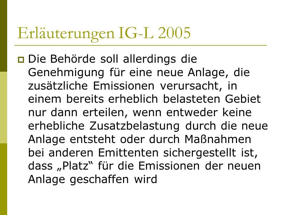 Erläuterungen IG-L 2005 Die Behörde soll allerdings die Genehmigung für eine neue Anlage, die zusätzliche Emissionen verursacht, in einem bereits erhe