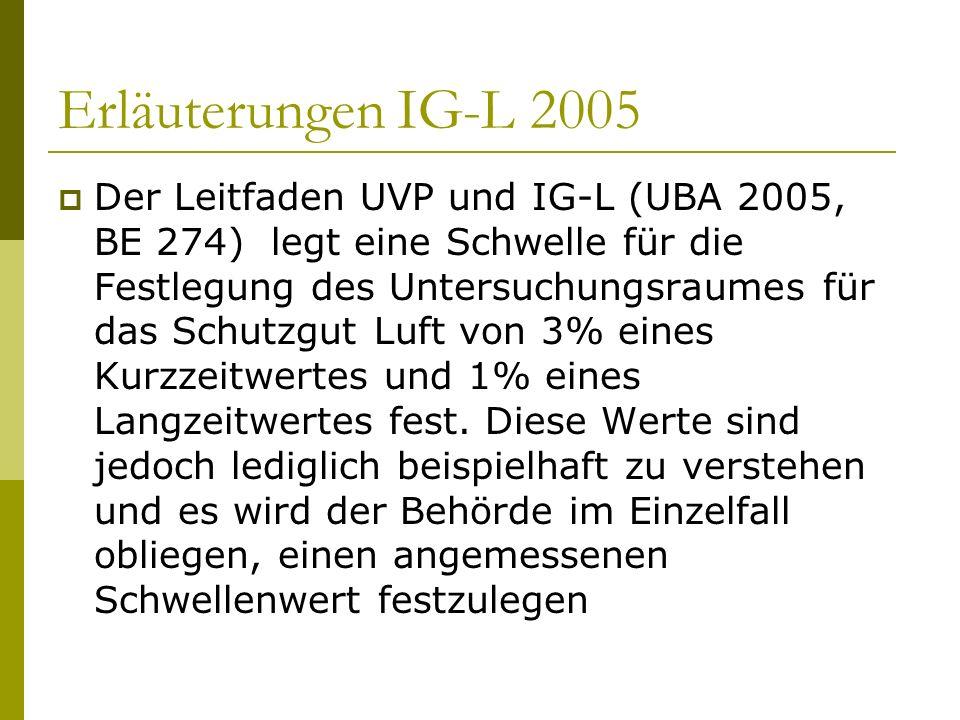 Erläuterungen IG-L 2005 Der Leitfaden UVP und IG-L (UBA 2005, BE 274) legt eine Schwelle für die Festlegung des Untersuchungsraumes für das Schutzgut