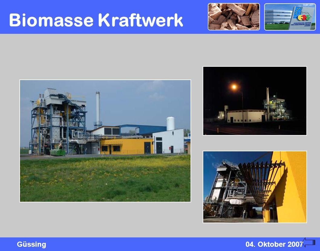 Güssing04. Oktober 2007 Biomasse Kraftwerk