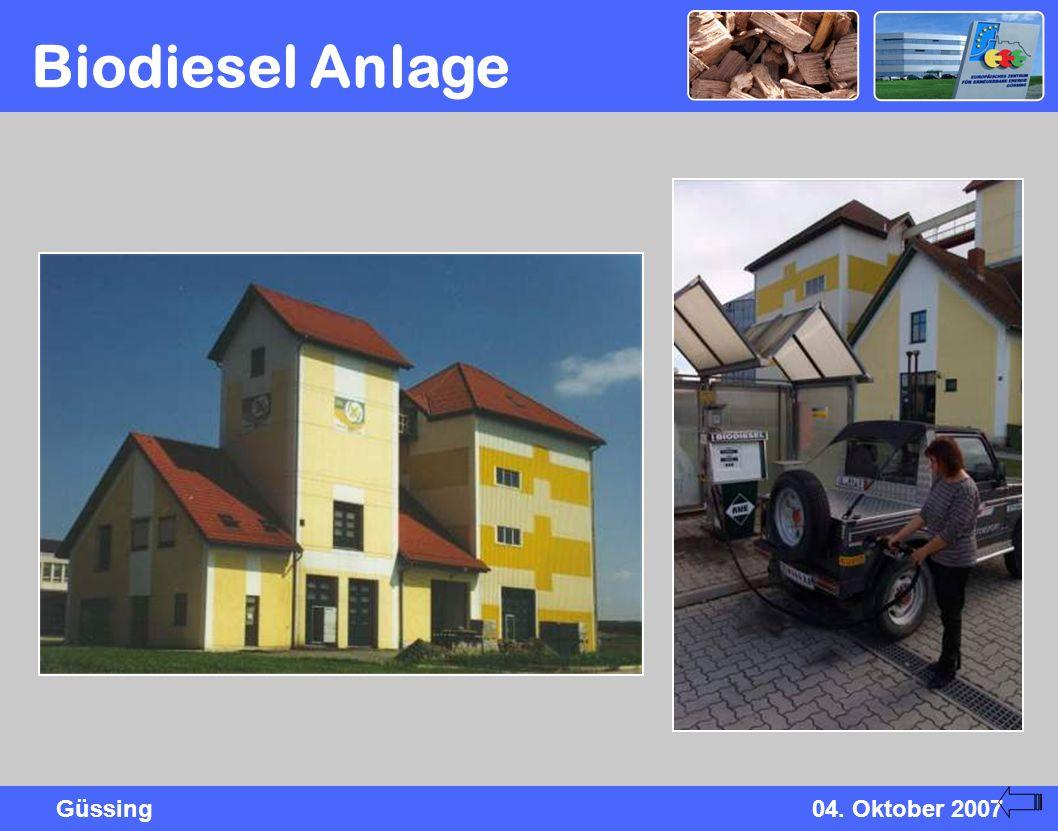 Güssing04. Oktober 2007 Biodiesel Anlage