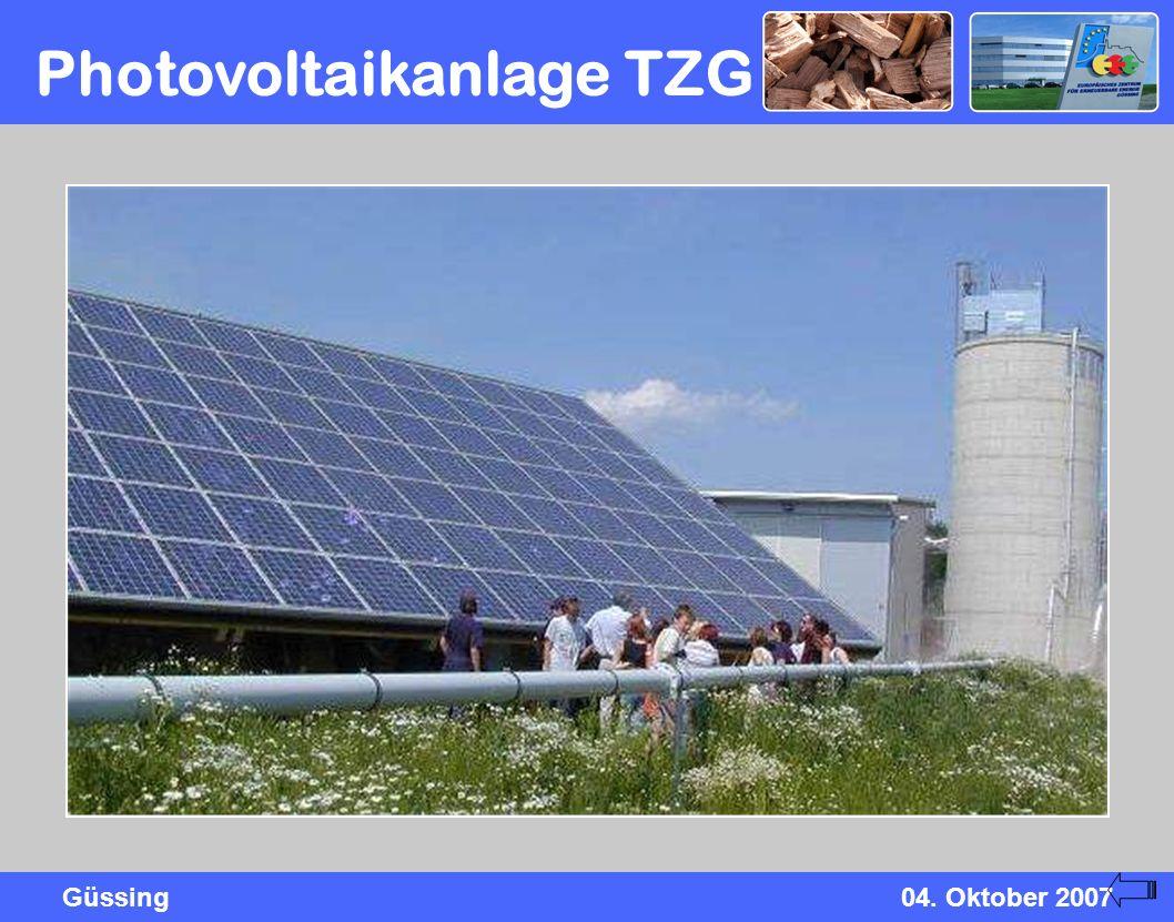 Güssing04. Oktober 2007 Photovoltaikanlage TZG