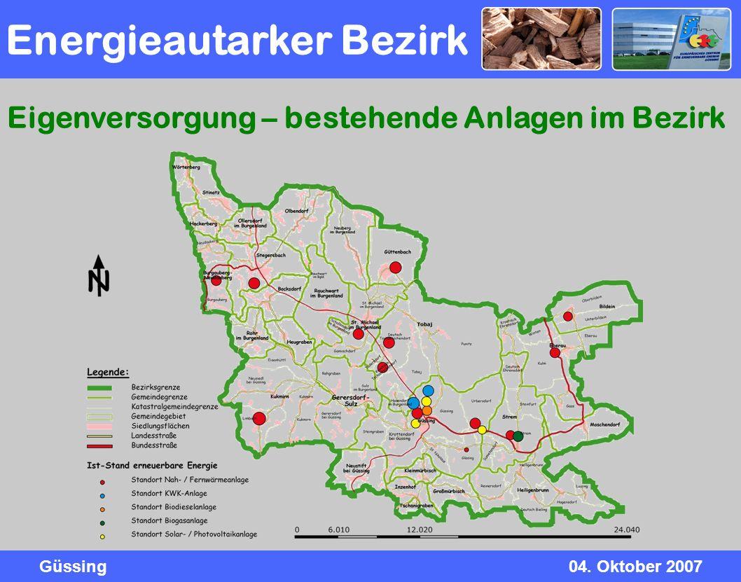 Güssing04. Oktober 2007 Energieautarker Bezirk Eigenversorgung – bestehende Anlagen im Bezirk