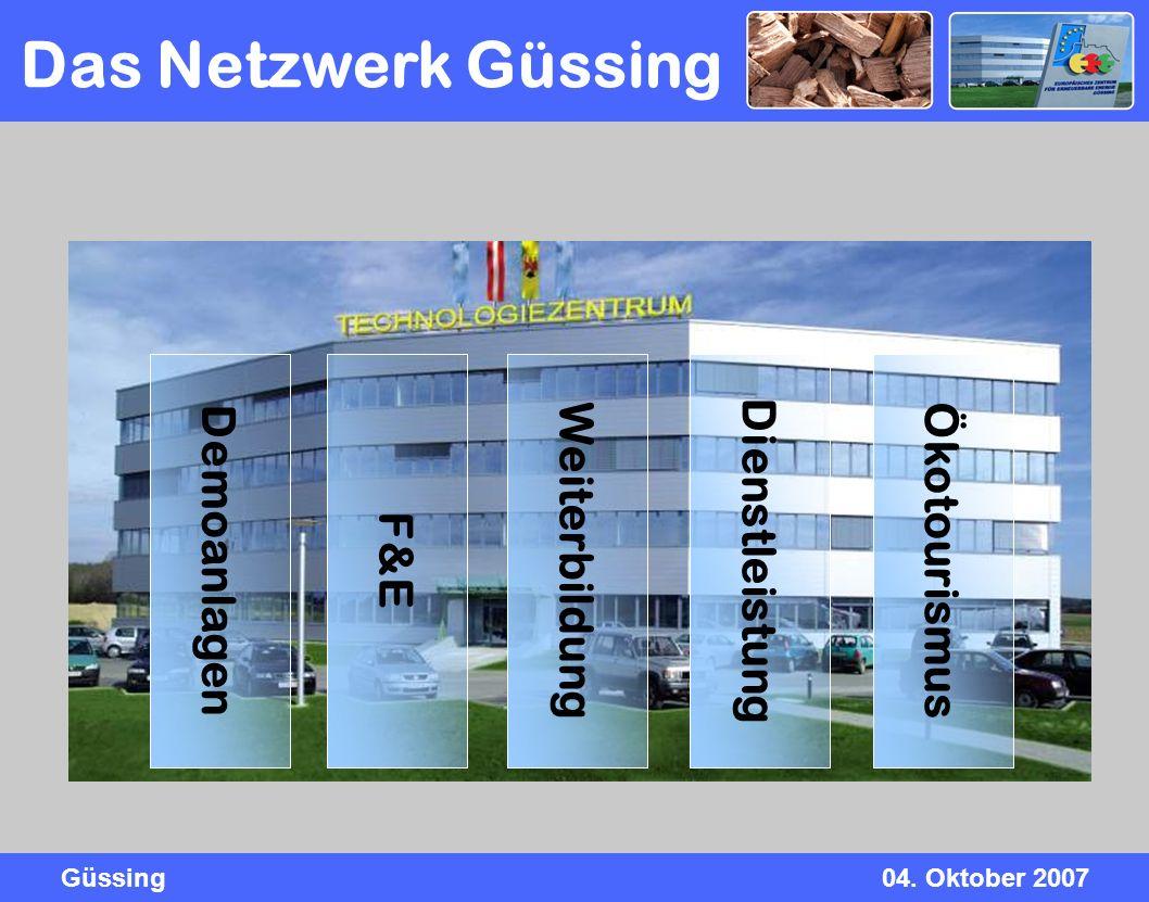 Güssing04. Oktober 2007 Ökotourismus Demoanlagen F&E Weiterbildung Dienstleistung Das Netzwerk Güssing
