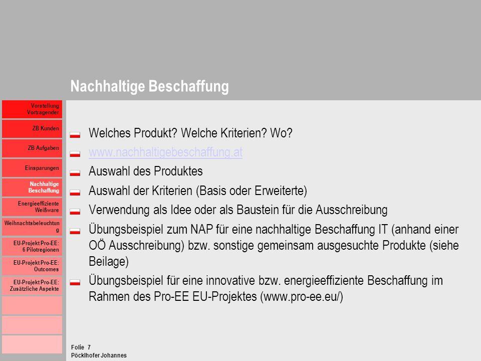 Pöcklhofer Johannes Folie Vorstellung Vortragender ZB Kunden ZB Aufgaben Einsparungen Nachhaltige Beschaffung Energieeffiziente Weißware Weihnachtsbel