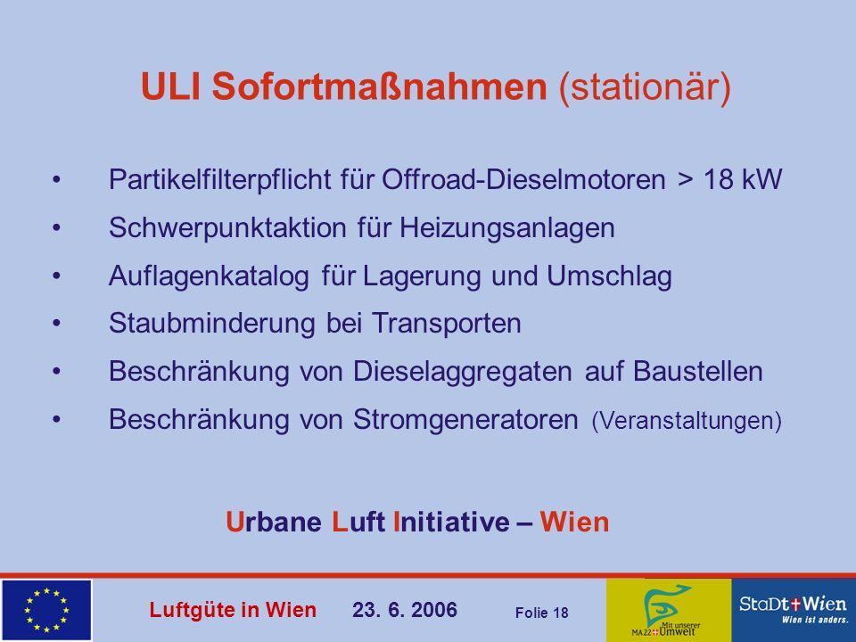 Luftgüte in Wien 23. 6. 2006 Folie 18 ULI Sofortmaßnahmen (stationär) Partikelfilterpflicht für Offroad-Dieselmotoren > 18 kW Schwerpunktaktion für He