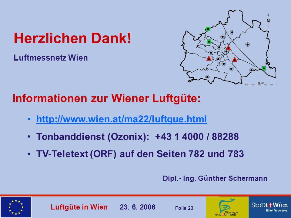 Luftgüte in Wien 23. 6. 2006 Folie 23 Herzlichen Dank! Informationen zur Wiener Luftgüte: http://www.wien.at/ma22/luftgue.html Tonbanddienst (Ozonix):