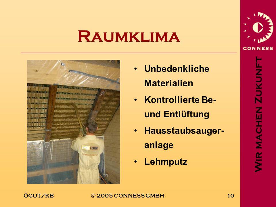 Wir machen Zukunft ÖGUT/KB© 2005 CONNESS GMBH10 Raumklima Unbedenkliche Materialien Kontrollierte Be- und Entlüftung Hausstaubsauger- anlage Lehmputz