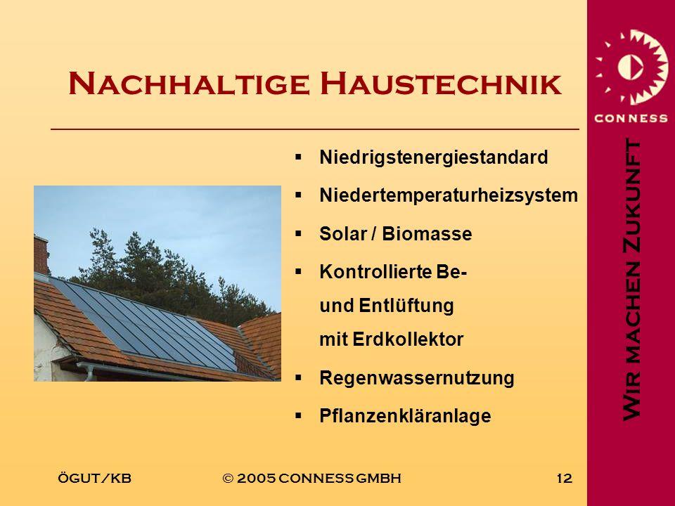Wir machen Zukunft ÖGUT/KB© 2005 CONNESS GMBH12 Nachhaltige Haustechnik Niedrigstenergiestandard Niedertemperaturheizsystem Solar / Biomasse Kontrolli