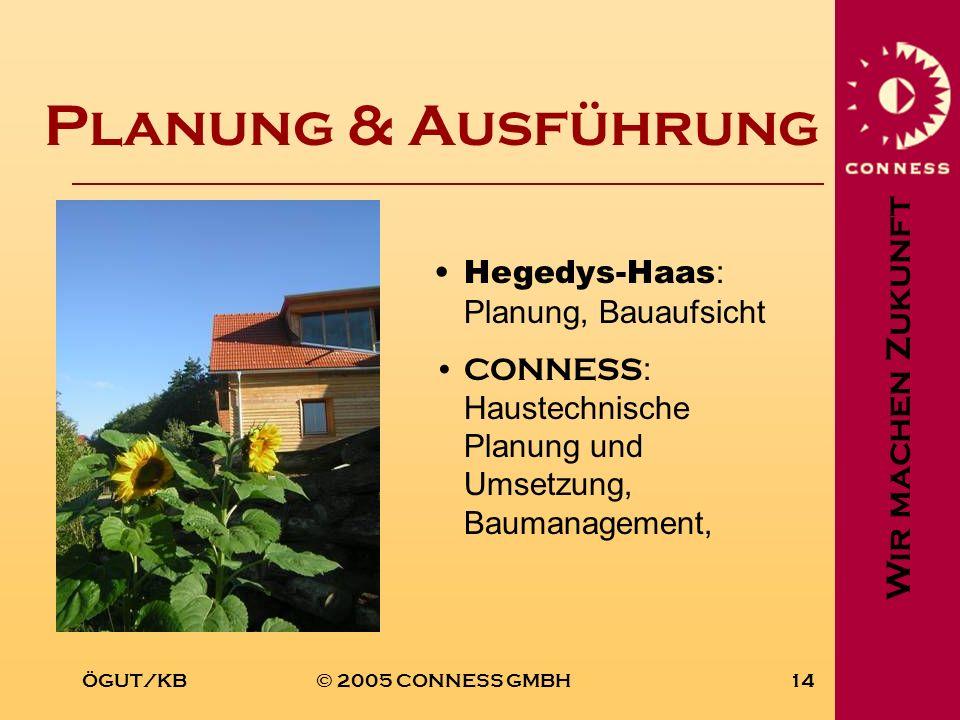 Wir machen Zukunft ÖGUT/KB© 2005 CONNESS GMBH14 Planung & Ausführung Hegedys-Haas : Planung, Bauaufsicht CONNESS : Haustechnische Planung und Umsetzun