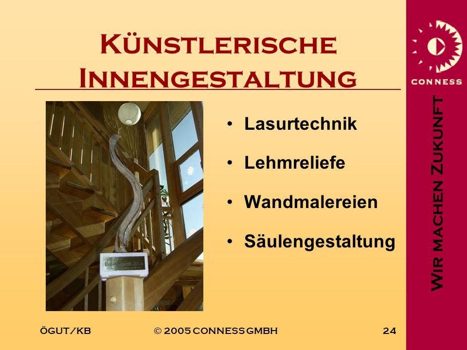 Wir machen Zukunft ÖGUT/KB© 2005 CONNESS GMBH24 Künstlerische Innengestaltung Lasurtechnik Lehmreliefe Wandmalereien Säulengestaltung