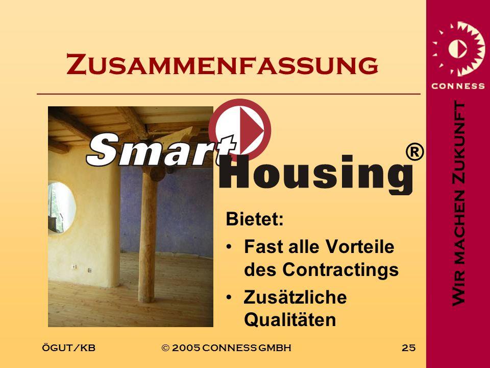 Wir machen Zukunft ÖGUT/KB© 2005 CONNESS GMBH25 Zusammenfassung Bietet: Fast alle Vorteile des Contractings Zusätzliche Qualitäten ®