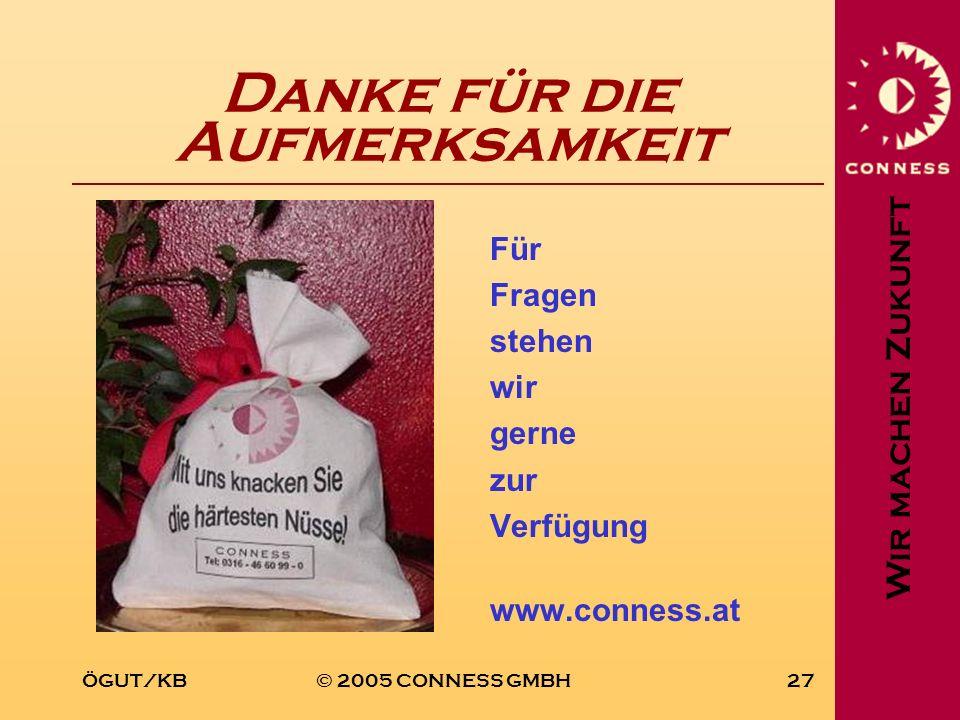 Wir machen Zukunft ÖGUT/KB© 2005 CONNESS GMBH27 Danke für die Aufmerksamkeit Für Fragen stehen wir gerne zur Verfügung www.conness.at