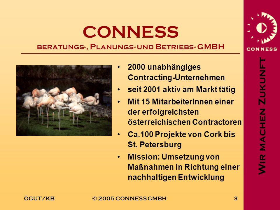 Wir machen Zukunft ÖGUT/KB© 2005 CONNESS GMBH3 CONNESS beratungs-, Planungs- und Betriebs- GMBH 2000 unabhängiges Contracting-Unternehmen seit 2001 ak