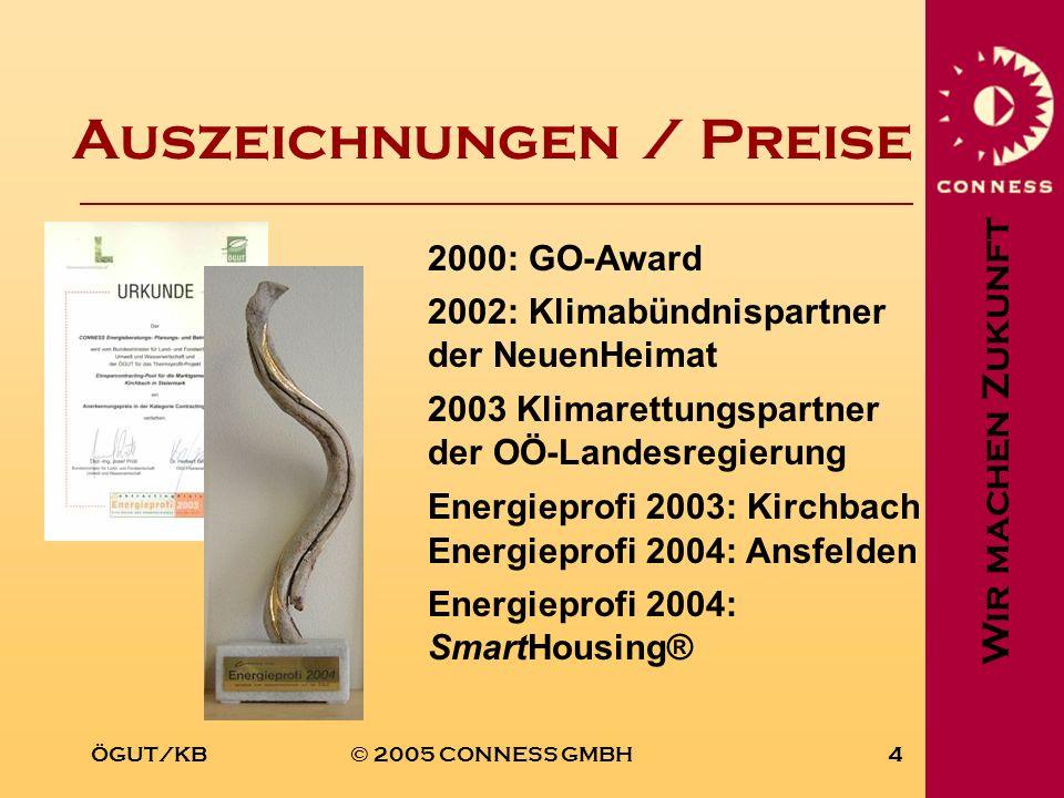 Wir machen Zukunft ÖGUT/KB© 2005 CONNESS GMBH4 Auszeichnungen / Preise 2000: GO-Award 2003 Klimarettungspartner der OÖ-Landesregierung 2002: Klimabünd