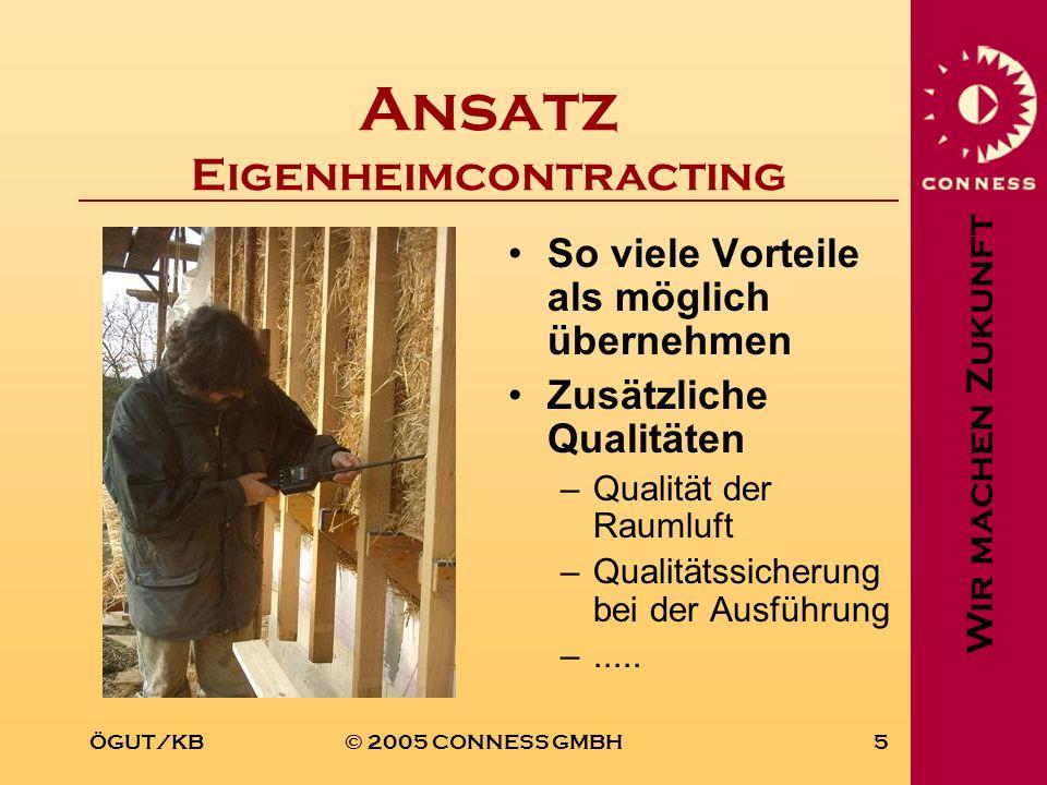 Wir machen Zukunft ÖGUT/KB© 2005 CONNESS GMBH5 Ansatz Eigenheimcontracting So viele Vorteile als möglich übernehmen Zusätzliche Qualitäten –Qualität d