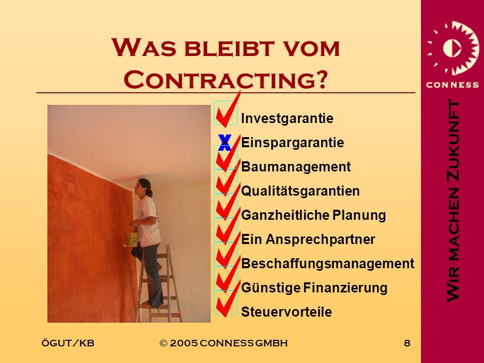 Wir machen Zukunft ÖGUT/KB© 2005 CONNESS GMBH8 X Was bleibt vom Contracting? Investgarantie Einspargarantie Baumanagement Qualitätsgarantien Ganzheitl