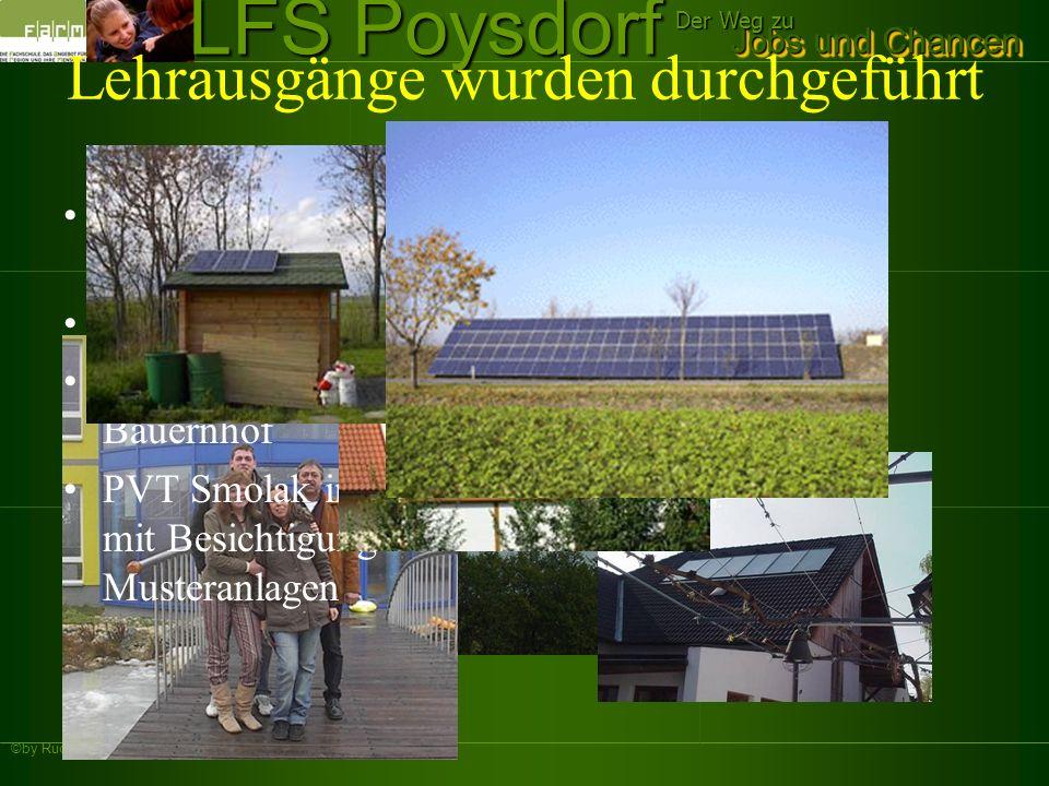 ©by Rudi Weiss Jobs und Chancen Der Weg zu LFS Poysdorf Lehrausgänge wurden durchgeführt Solaranlagen zu Warmwassererzeugung Windkraftanlagen Energiea