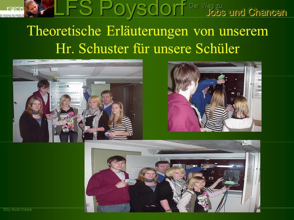 ©by Rudi Weiss Jobs und Chancen Der Weg zu LFS Poysdorf Theoretische Erläuterungen von unserem Hr. Schuster für unsere Schüler
