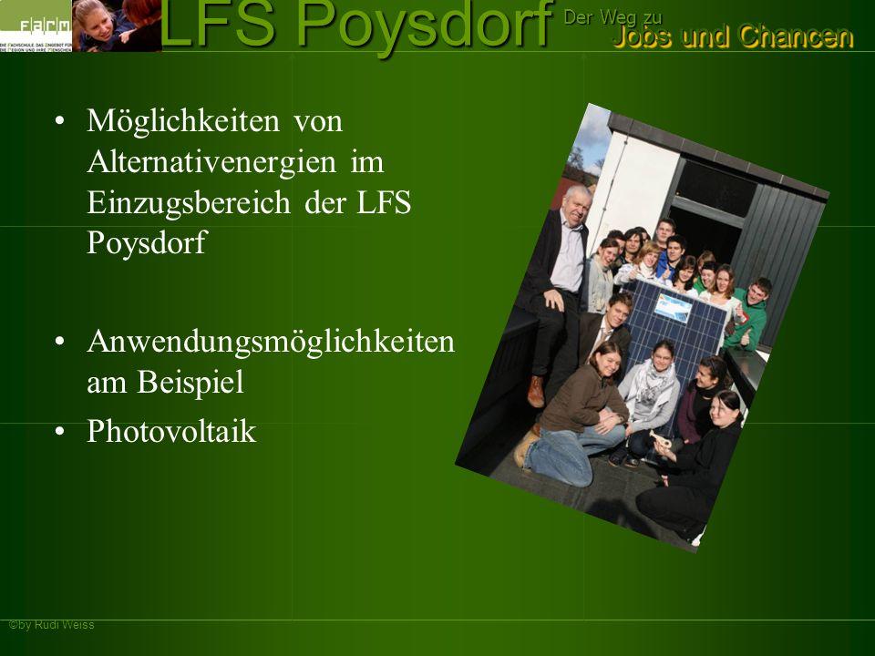 ©by Rudi Weiss Jobs und Chancen Der Weg zu LFS Poysdorf Möglichkeiten von Alternativenergien im Einzugsbereich der LFS Poysdorf Anwendungsmöglichkeite