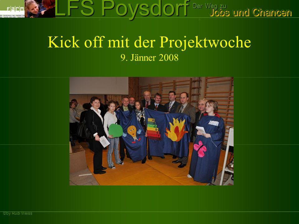 ©by Rudi Weiss Jobs und Chancen Der Weg zu LFS Poysdorf Zeitlicher Ablauf des Projekts Unterricht in den Klassen mit Gastreferenten Hr.