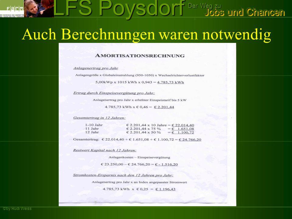 ©by Rudi Weiss Jobs und Chancen Der Weg zu LFS Poysdorf Finanzierungsbeispiel