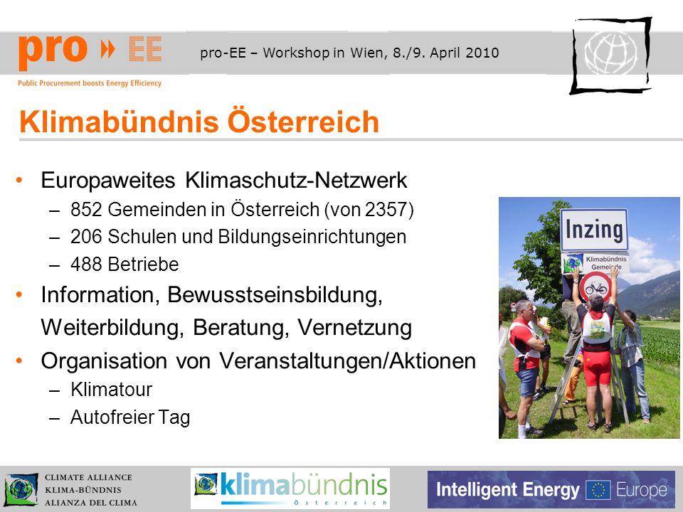 pro-EE – Workshop in Wien, 8./9. April 2010 Klimabündnis Österreich Europaweites Klimaschutz-Netzwerk –852 Gemeinden in Österreich (von 2357) –206 Sch