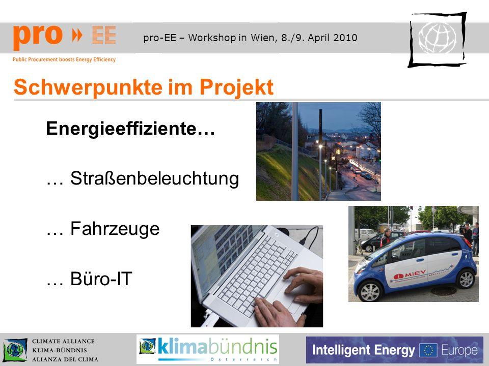 pro-EE – Workshop in Wien, 8./9. April 2010 Schwerpunkte im Projekt Energieeffiziente… … Straßenbeleuchtung … Fahrzeuge … Büro-IT