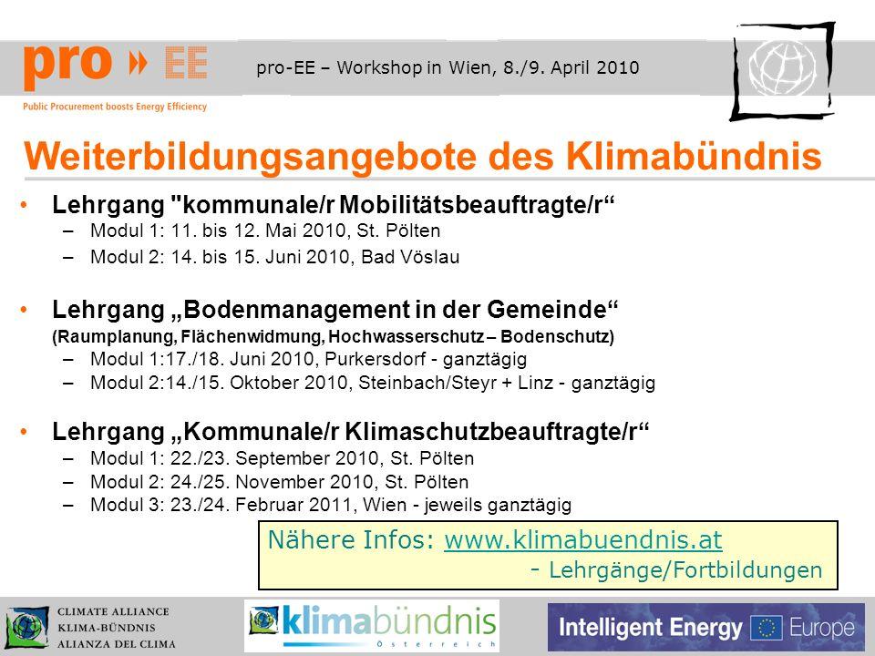 pro-EE – Workshop in Wien, 8./9. April 2010 Weiterbildungsangebote des Klimabündnis Lehrgang