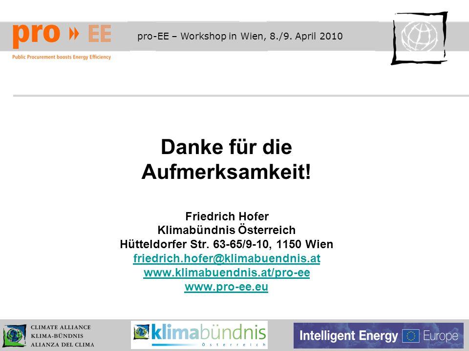 pro-EE – Workshop in Wien, 8./9. April 2010 Danke für die Aufmerksamkeit! Friedrich Hofer Klimabündnis Österreich Hütteldorfer Str. 63-65/9-10, 1150 W