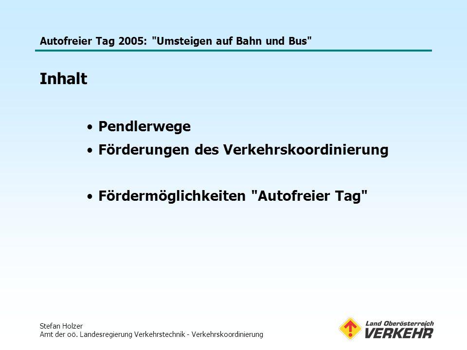 Autofreier Tag 2005: Umsteigen auf Bahn und Bus Stefan Holzer Amt der oö.