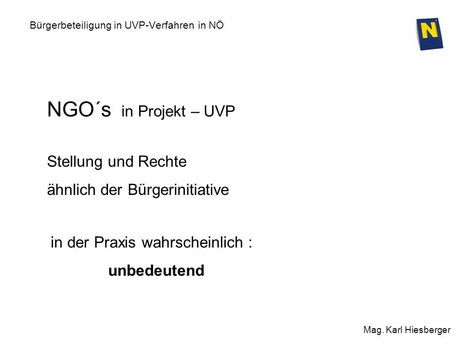 Bürgerbeteiligung in UVP-Verfahren in NÖ Mag. Karl Hiesberger in der Praxis wahrscheinlich : unbedeutend NGO´s in Projekt – UVP Stellung und Rechte äh