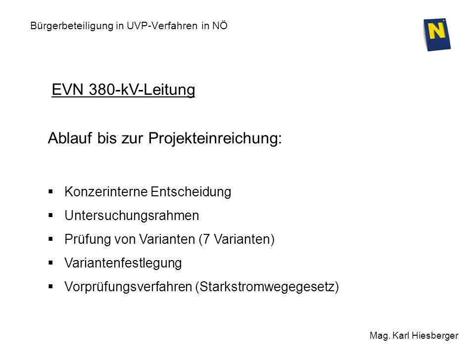 Bürgerbeteiligung in UVP-Verfahren in NÖ Mag. Karl Hiesberger EVN 380-kV-Leitung Ablauf bis zur Projekteinreichung: Konzerinterne Entscheidung Untersu