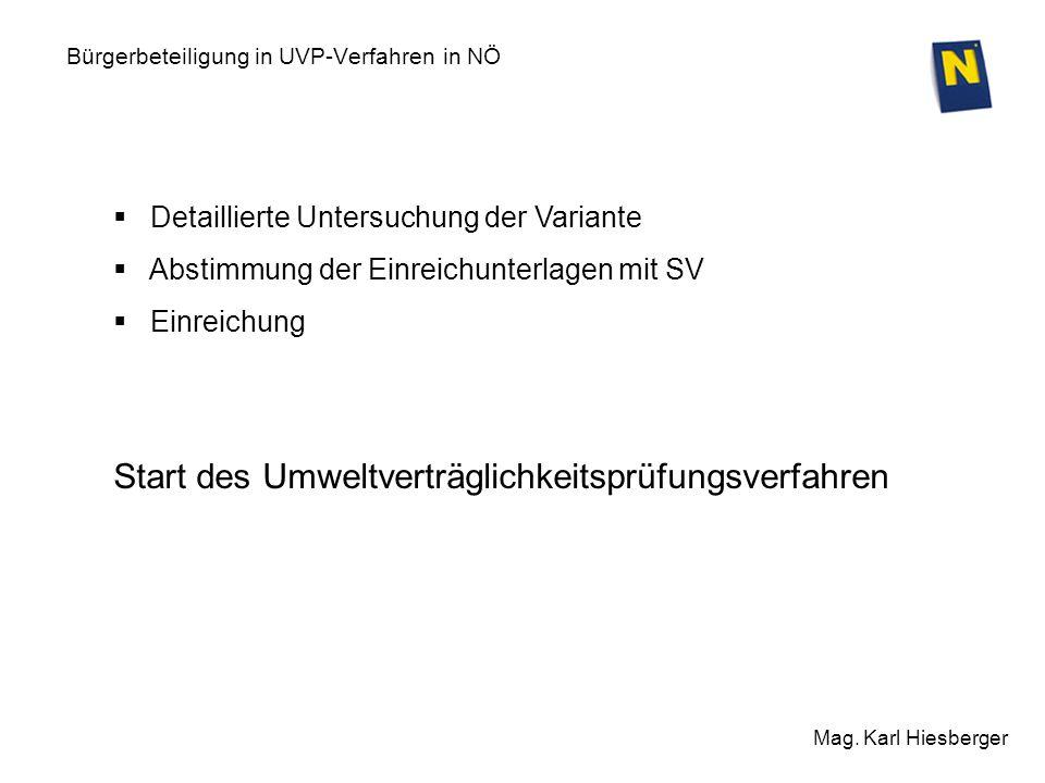 Bürgerbeteiligung in UVP-Verfahren in NÖ Mag. Karl Hiesberger Detaillierte Untersuchung der Variante Abstimmung der Einreichunterlagen mit SV Einreich