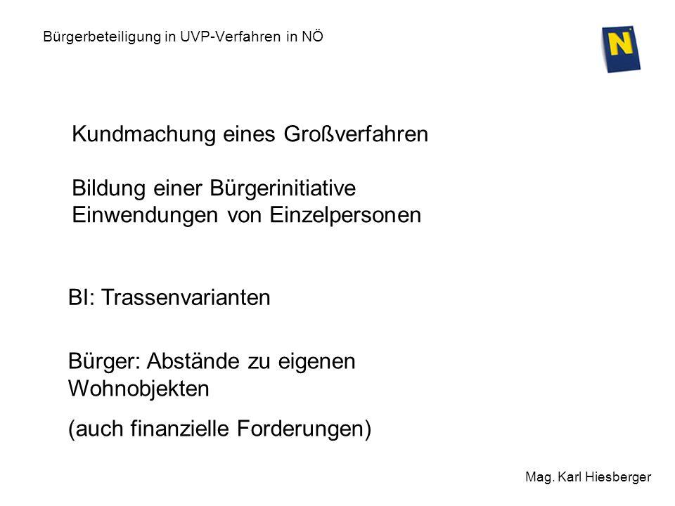 Bürgerbeteiligung in UVP-Verfahren in NÖ Mag. Karl Hiesberger Kundmachung eines Großverfahren Bildung einer Bürgerinitiative Einwendungen von Einzelpe