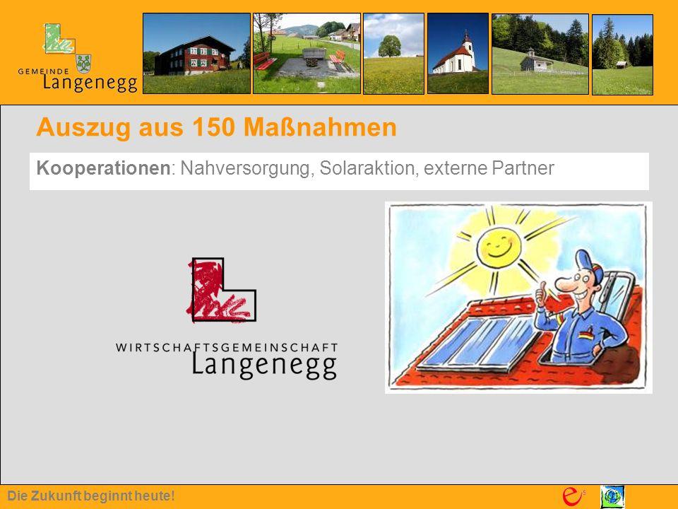 Die Zukunft beginnt heute! Auszug aus 150 Maßnahmen Kooperationen: Nahversorgung, Solaraktion, externe Partner