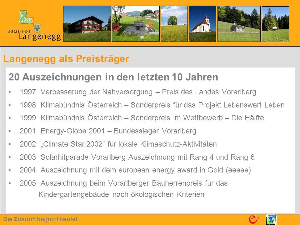 Die Zukunft beginnt heute! Langenegg als Preisträger 20 Auszeichnungen in den letzten 10 Jahren 1997 Verbesserung der Nahversorgung – Preis des Landes