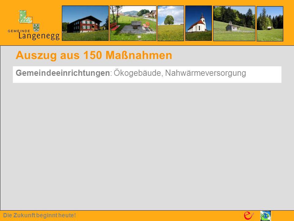 Die Zukunft beginnt heute! Auszug aus 150 Maßnahmen Gemeindeeinrichtungen: Ökogebäude, Nahwärmeversorgung