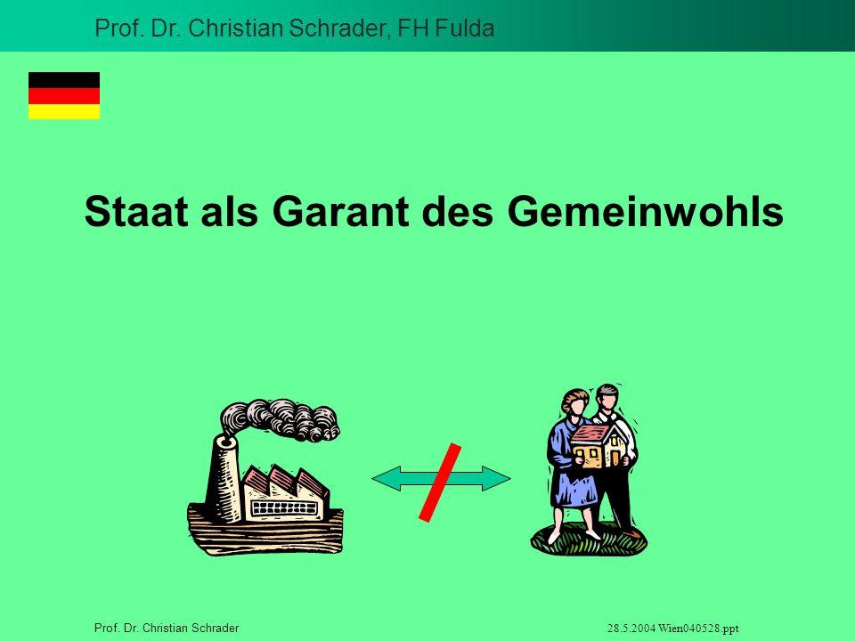 Prof. Dr. Christian Schrader, FH Fulda Prof. Dr. Christian Schrader 28.5.2004 Wien040528.ppt Staat als Garant des Gemeinwohls