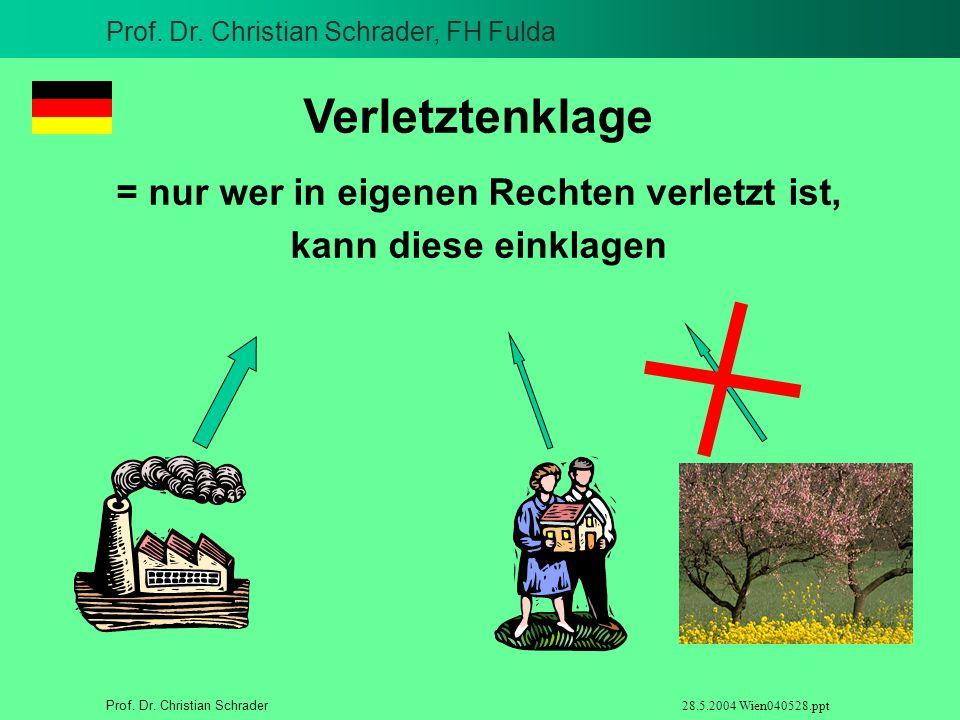 Prof. Dr. Christian Schrader, FH Fulda Prof. Dr. Christian Schrader 28.5.2004 Wien040528.ppt Verletztenklage = nur wer in eigenen Rechten verletzt ist