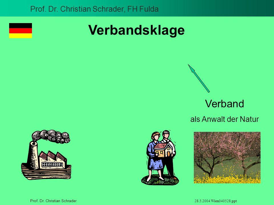 Prof. Dr. Christian Schrader, FH Fulda Prof. Dr. Christian Schrader 28.5.2004 Wien040528.ppt Verbandsklage Verband als Anwalt der Natur