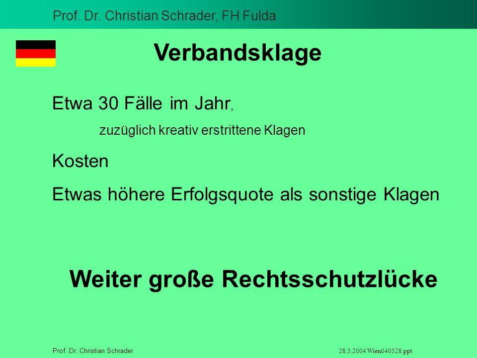 Prof. Dr. Christian Schrader, FH Fulda Prof. Dr. Christian Schrader 28.5.2004 Wien040528.ppt Verbandsklage Etwa 30 Fälle im Jahr, zuzüglich kreativ er