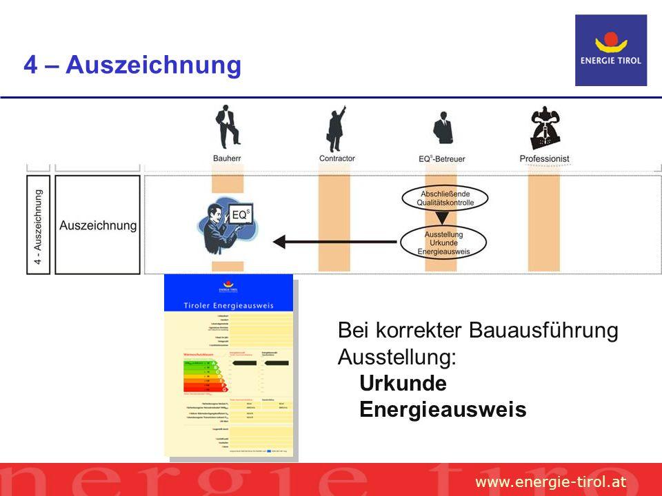 www.energie-tirol.at 4 – Auszeichnung Bei korrekter Bauausführung Ausstellung: Urkunde Energieausweis