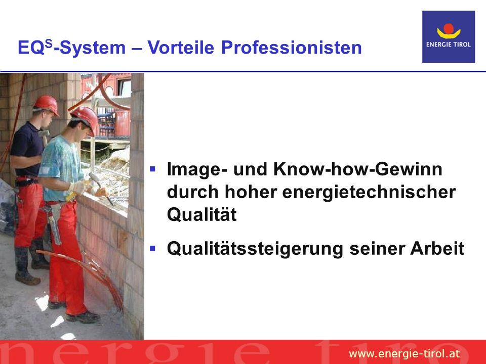 www.energie-tirol.at EQ S -System – Vorteile Professionisten Image- und Know-how-Gewinn durch hoher energietechnischer Qualität Qualitätssteigerung seiner Arbeit