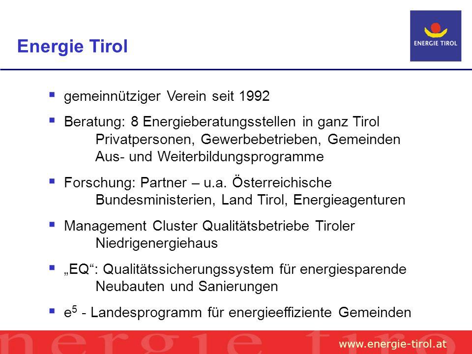 www.energie-tirol.at gemeinnütziger Verein seit 1992 Beratung: 8 Energieberatungsstellen in ganz Tirol Privatpersonen, Gewerbebetrieben, Gemeinden Aus- und Weiterbildungsprogramme Forschung: Partner – u.a.