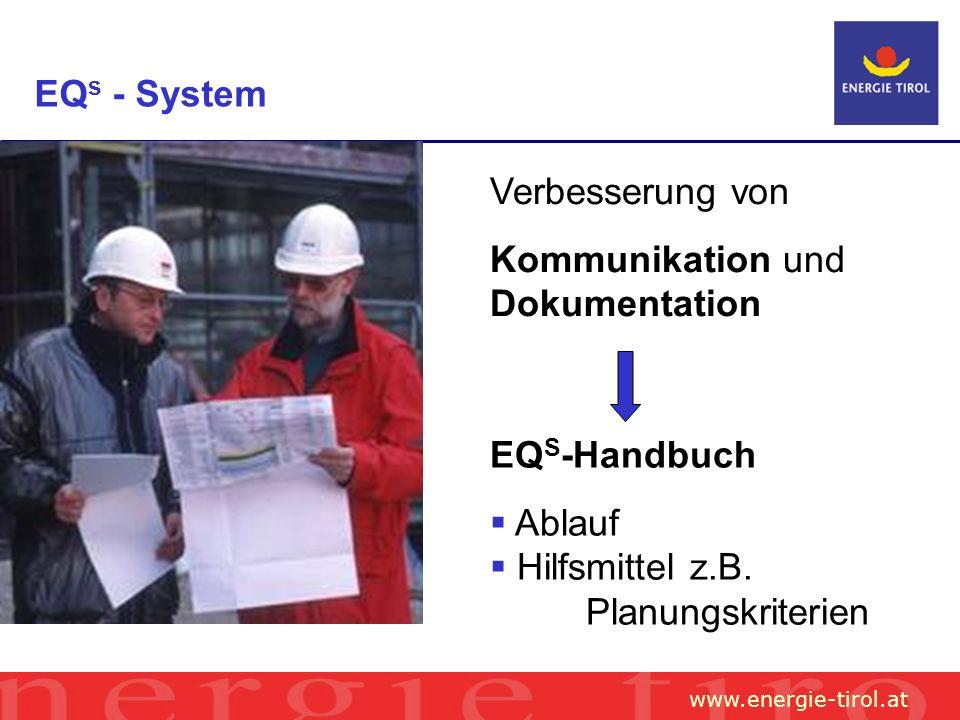 www.energie-tirol.at EQ s - System Verbesserung von Kommunikation und Dokumentation EQ S -Handbuch Ablauf Hilfsmittel z.B.