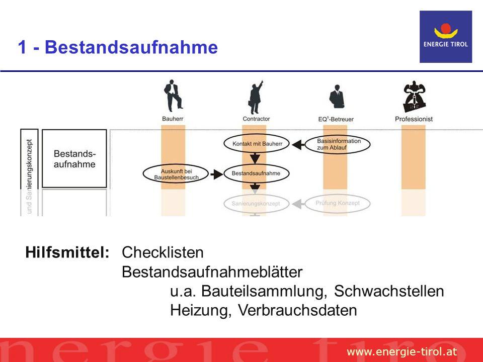 www.energie-tirol.at 1 - Bestandsaufnahme Hilfsmittel: Checklisten Bestandsaufnahmeblätter u.a.