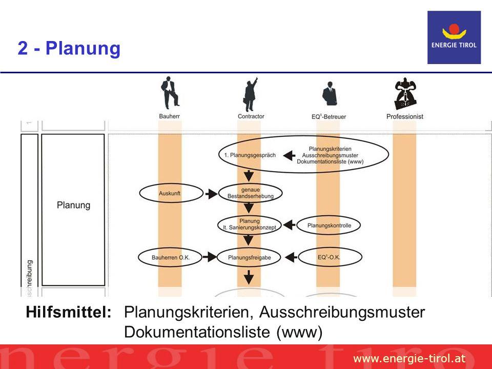 www.energie-tirol.at 2 - Planung Hilfsmittel: Planungskriterien, Ausschreibungsmuster Dokumentationsliste (www)