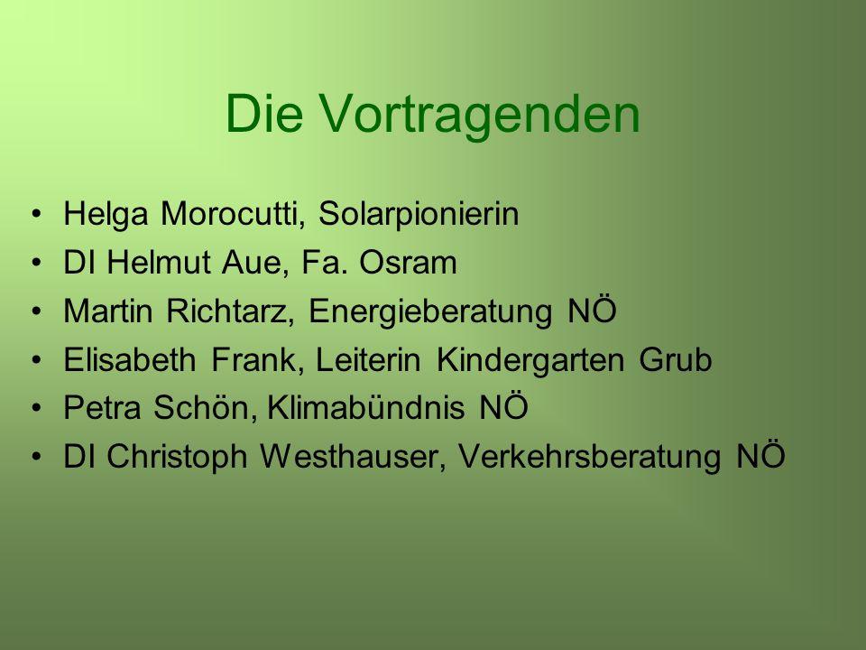 Die Vortragenden Helga Morocutti, Solarpionierin DI Helmut Aue, Fa.