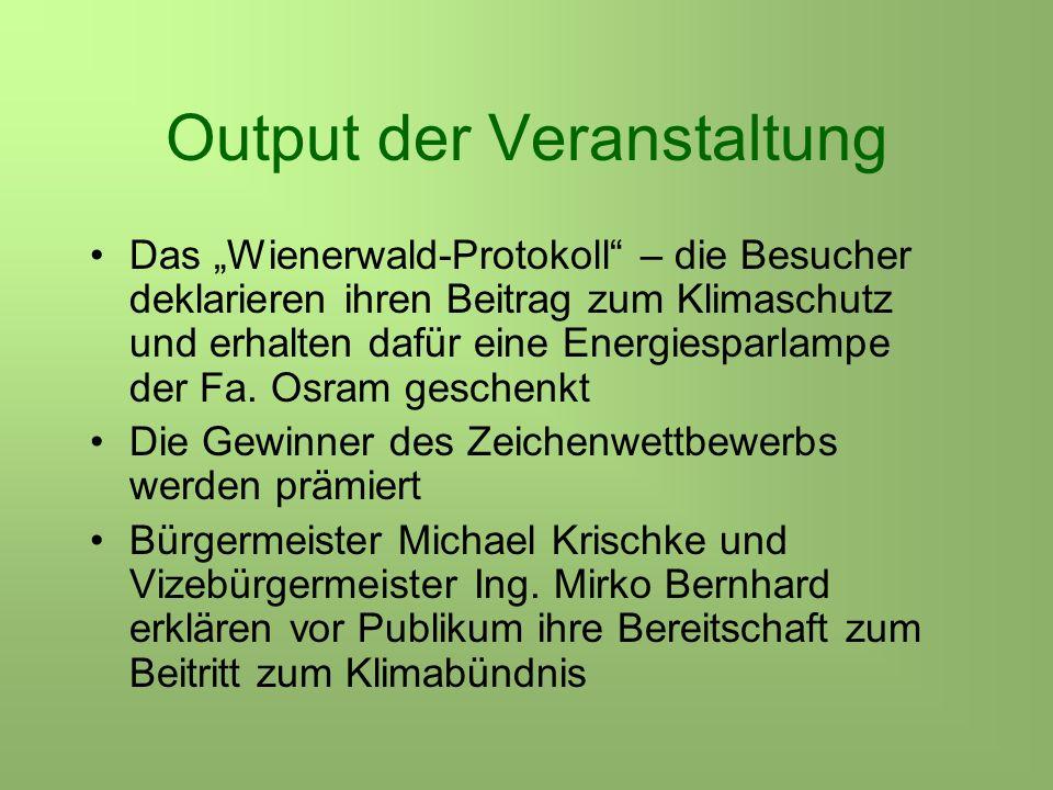 Output der Veranstaltung Das Wienerwald-Protokoll – die Besucher deklarieren ihren Beitrag zum Klimaschutz und erhalten dafür eine Energiesparlampe der Fa.